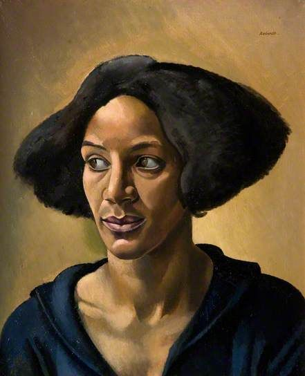 """""""The Creole"""" (aka Portrait of a Negress – Hélène Yelin) by British artist William Patrick Roberts, 1923.     The model for 'The Creole' was mixed race Londoner Mrs Helène Yelin, who also posed for a bust by Epstein of 1919. The same model appears in Roberts's 'The Joke', 1923.    """"Drawing over the Colour Line: Geographies of art and cosmopolitan politics in London 1919 - 1939"""""""