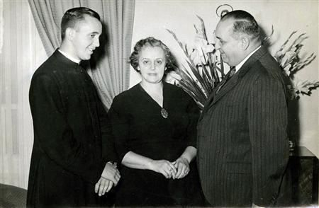 Argentine Cardinal Jorge Bergoglio, now Pope Francis (L), is pictured with his mother Maria Regina Sivori and his father Mario Jose in this 1958