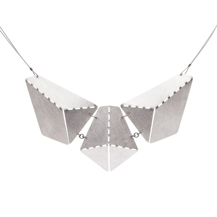 Hand crafted necklace made of matte and partly polished stainless steel.