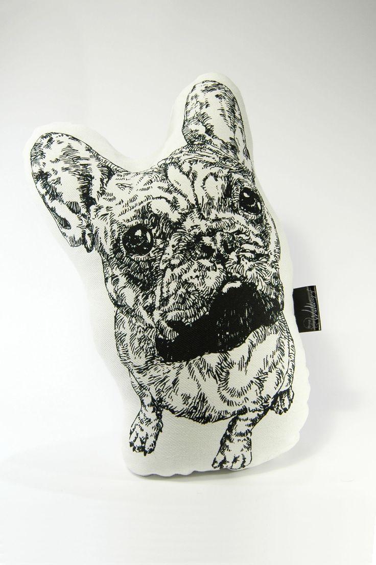 Bulldog screen printed cotton plushie