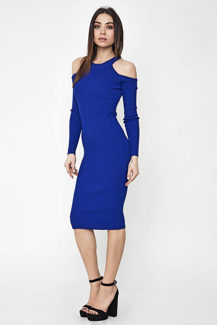 Off Shoulder Ribbed Midi Φόρεμα - ΡΟΥΧΑ -> Φορέματα & Φόρμες   Made of Grace