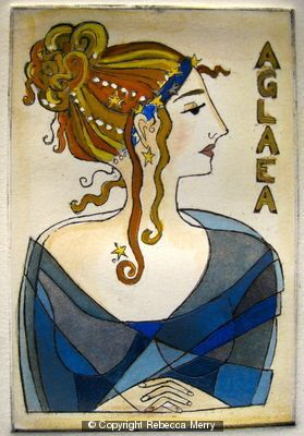 "Aglaea -One of the three Graces in Greek Mythology. Aglaea means ""Splendour"". Hand coloured etching, one of three. Private collection"