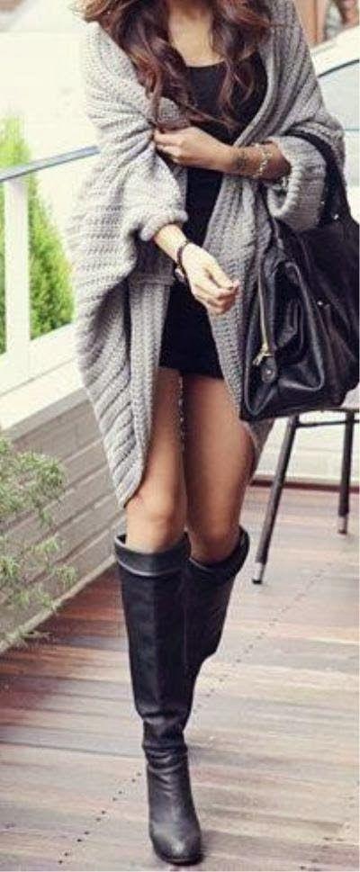 Stylish oversized knitted cardigan
