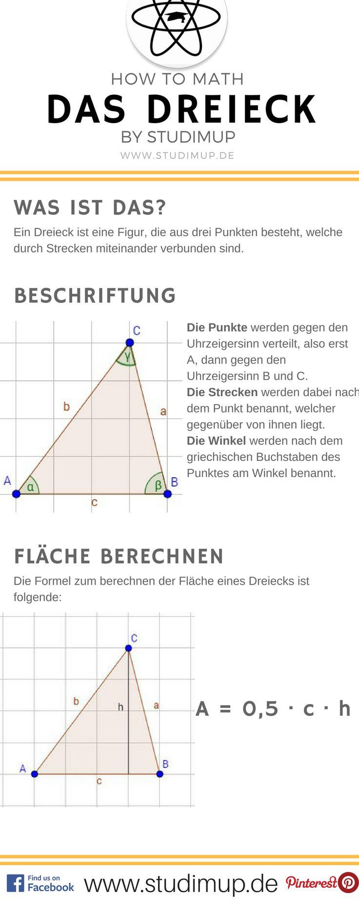 Der Spickzettel zum Dreieck, mit dessen Benennung und wie man die Fläche berechnet.