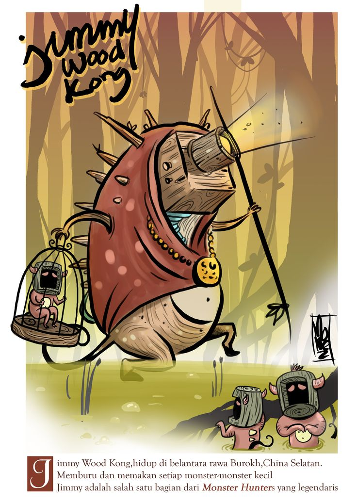 "'Jimmy Wood Kong"" a litle story about one of the legendary "" Monster Hunters"" #illustration #jungle #forest #monster #monsterhunter #swam #horor"
