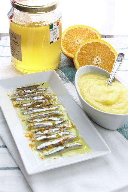 La Trappola Golosa  : Acciughe marinate al miele e orange curd al miele