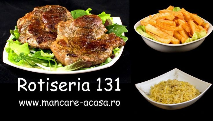 Ceafa de porc la gratar,cartofi prajiti si salata de varza murata. www.mancare-acasa.ro