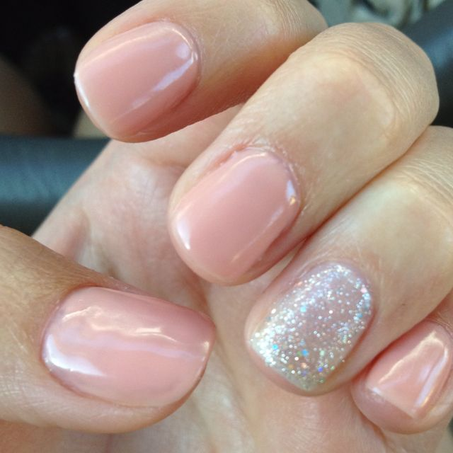 Nude nails with a bit of glitter