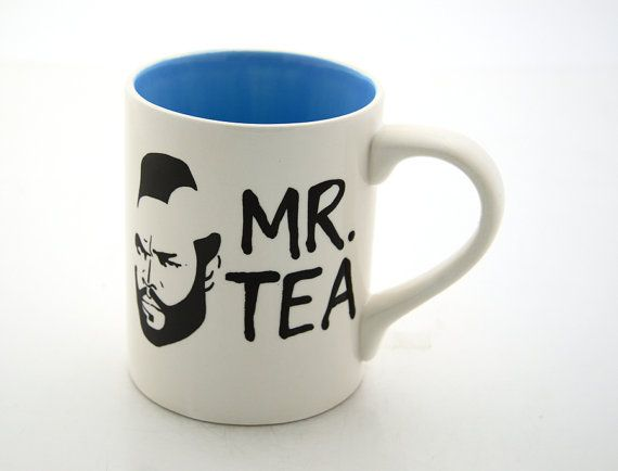 Mr T Mug Tea Cup Featuring Mr. T Turquoise Blue earthenware on Etsy, Sold