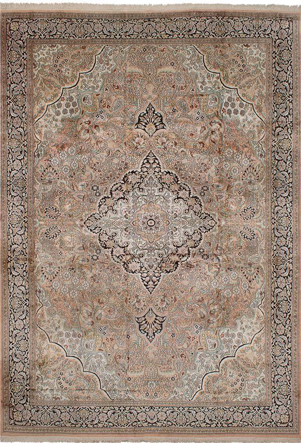 Hand-knotted Kashmir Copper, Tan Silk Rug