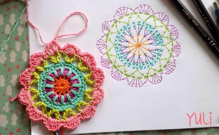 Crochet Mandala - Chart ❥ 4U hilariafina  http://www.pinterest.com/hilariafina/ ideia para criar a mandala em desenho para ser colorida e depois copiada em crochet