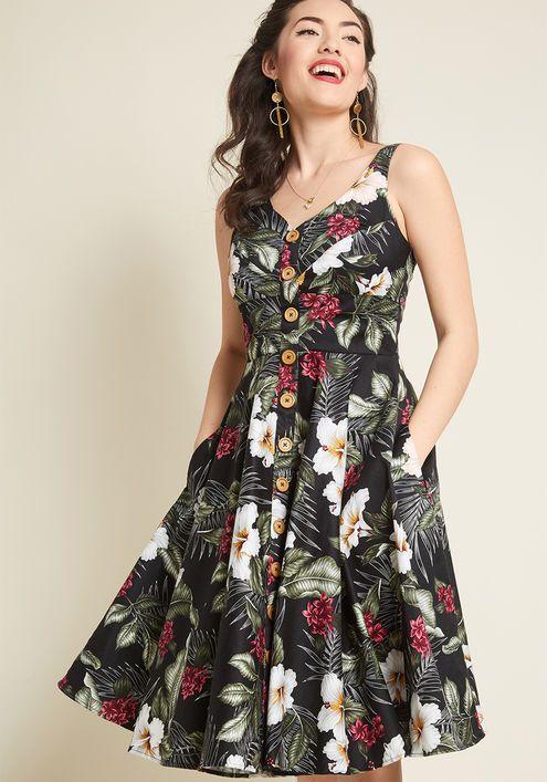 b9f3e7a92 Hell Bunny She's All Tiki Midi Dress in Black | Vestidos | Dresses ...