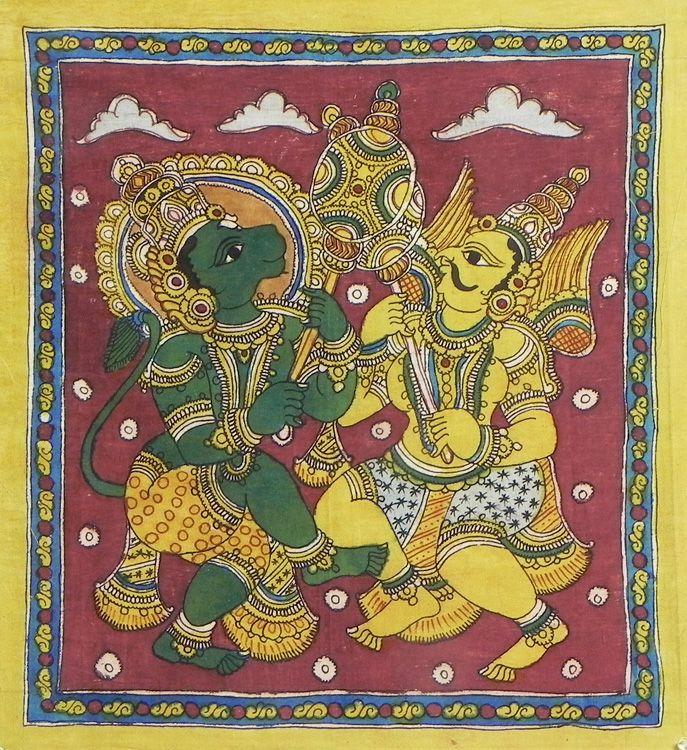 War between Hanuman and Garuda (Kalamkari Paintings on Cotton - Unframed))
