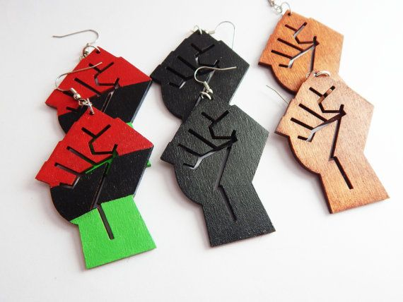 Power Fist Earrings Red Black Green Wood Black Power Fist Jewelry African Earrings Afrocentric Jewelry Handpainted Cute by TheBlackerTheBerry