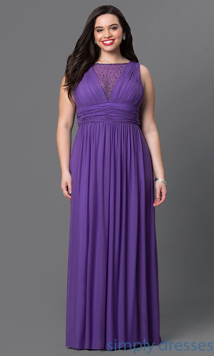 Long Embellished Empire-Waist Formal Plus Gown