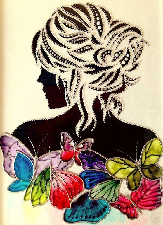 Купить картина на стекле, витражная роспись - Девушка с бабочками - черный, картина, картина в подарок