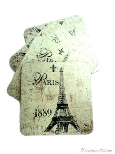 "French Set of 4 Deco Paris Wood Beverage Drink Coasters by American Chateau. $12.99. French Design. Wood and Cork Construction. Set of 4 Coasters. Paris and Eiffel Prints. This very unique and colorful set of 4 coasters is simply stunning. Each set includes 4 coasters with an Eiffel Tower Paris design. These coasters are made of wood with an underside of cork to protect tabletops. Approximate Dimensions: 4 1/8"" by 4 1/8""."