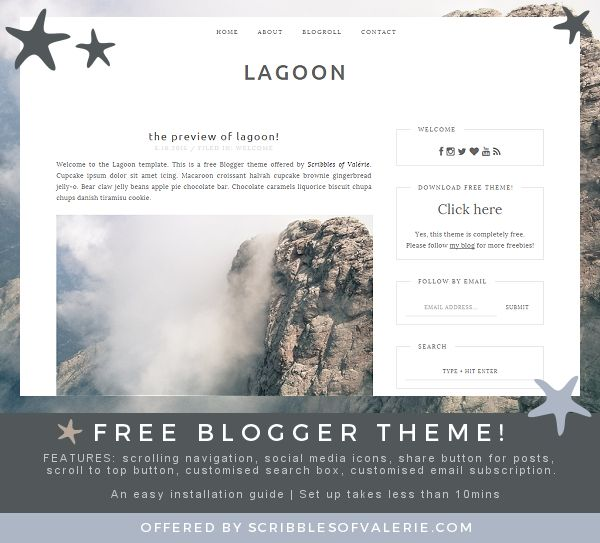 Lagoon: a FREE Blogger Theme offered by Scribbles of Valérie!