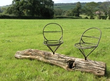 Twin steel seats in Oak traditional outdoor chairs
