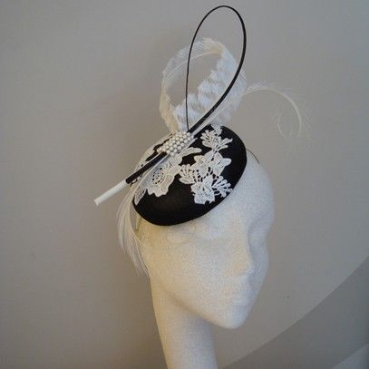 "Another beautiful design by ""By Harriet."" Classic & not over done.  http://www.byharriet.co.uk/fascinators"