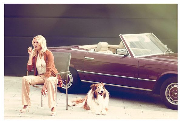 Hollywood Hills retro photo shoot - I love the outfit, the dog and the car. Retro love. Get the look with #shoes from #FamousFootwear
