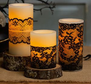 victorian lace candles - Candle Decorations
