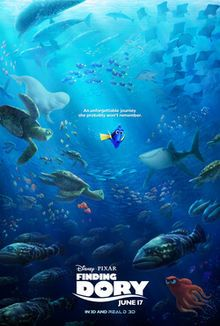 This image is because I assume its a poster for the film which gives an idea of the date that the film was released. I think it gives off a small hint towards what the film is about, showing that Dory is all on her own in the middle hinting towards the film where she is left alone.