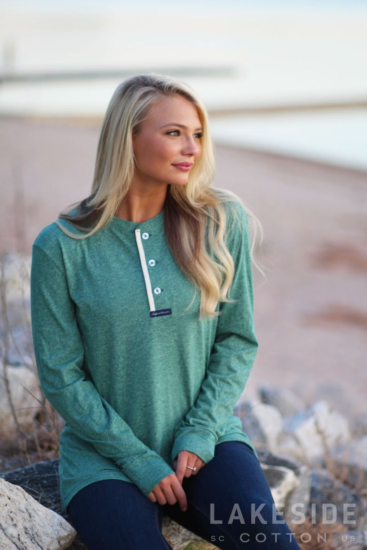 NEW Lauren James Boyfriend Tee In Heather Hunter Green from Lakeside Cotton!  https://lakesidecotton.marleylilly.com/product/boyfriend-tee-in-heather-hunter-green/