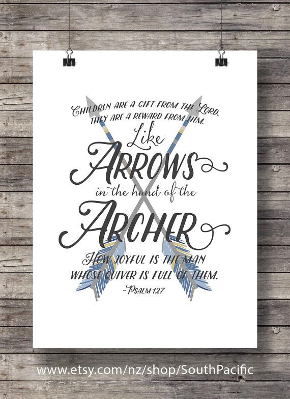 Like arrows in the hand of the archer - Psalm 127:4 - Scripture typography wall art print Bible Verse Printable wall art INSTANT DOWNLOAD Children are just like little arrows! We fire them off in the direction we want them to go, its so important to make sure that our aim is good! Buy 2 get 1 free: Coupon code FREEBIE Vintage styled 16x20 (easily resized to 8x10) and fine to print at A3/A4 size MADE WITH LOVE ♥ ____________________________ Print as many times as you like, fine for perso...
