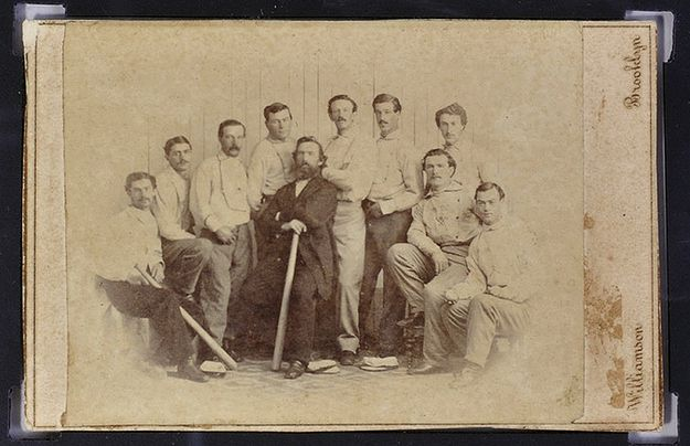 "Oldest baseball ""card"" depicting the 1865 Brooklyn Atlantics baseball team. (Well, back then, it would've been a ""base ball"" team, most likely.) The '65 Atlantics were the undisputed kings of baseball, compiling an 18-0 record that season, part of a record-setting 42-game undefeated streak.  ""✮✮Feel free to share on Pinterest"" ♥ღ www.morebaseballcards.com"