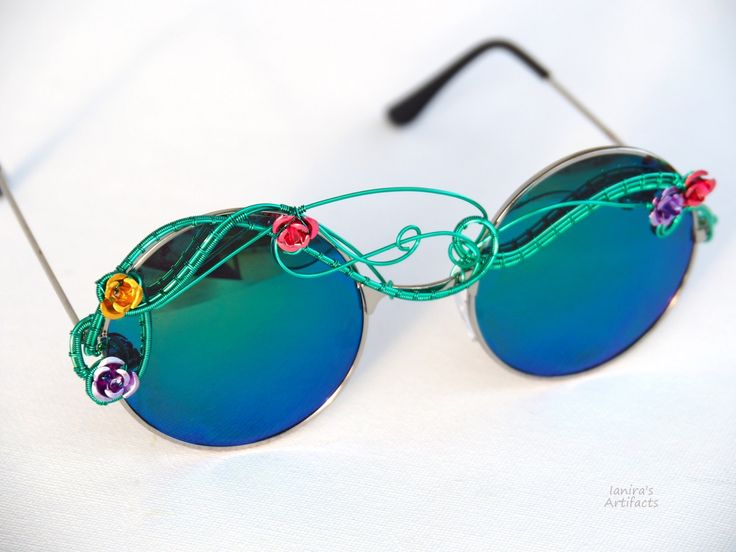 Boho sunglasses/Hippie accessories/Wire wrapped bohemian/Festival sunglasses/Green/Spring/Eyewear/Wearable art/Green/Fashion/Roses/Nature by Ianira on Etsy