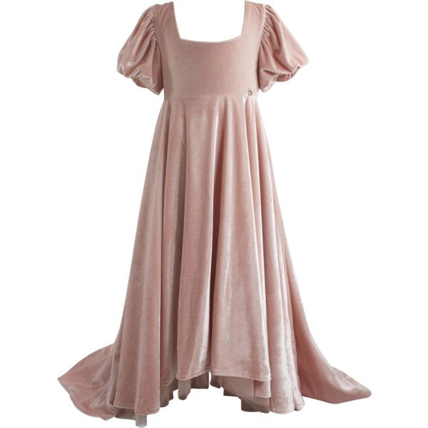 DOLLY by Le Petit Tom VELVET EMPRESS DRESS ballet pink (Sample) (210 CAD) ❤ liked on Polyvore featuring dresses, gowns, pink velvet dress, velvet prom dress, prom gowns, petite long evening dresses and petite prom dresses