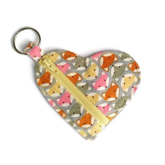 Fox Ear Buds Pouch, Fox Heart Change Purse, Fox Coin Purse, Woodland Fox Keyring Purse, Wedding Favors, Kids Keyring Pouch, Fox Bag Charm