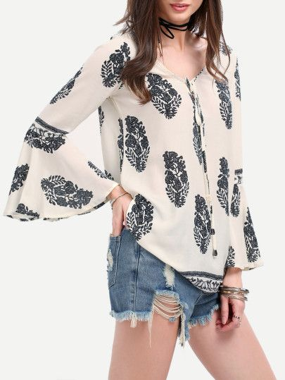 4f26f8544b8f79 Bell Sleeve Lace Up Blouse -SheIn(Sheinside)