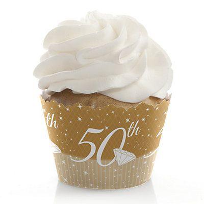 50th Anniversary - Wedding Anniversary Cupcake Wrappers | BigDotOfHappiness.com