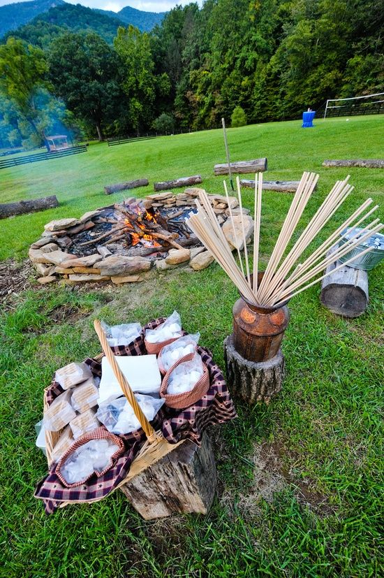 A S'mores area for your picnic rehearsal dinner! Love this idea...especially if you're having a RUSTIC wedding. What a great intro to a beautiful wedding...  wish-upon-a-wedding