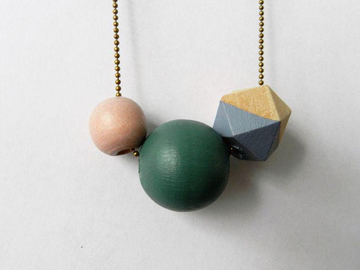 Geometrische Ketting Hout Roze, Groen, Lichtgrijs en Naturel door VanCaatNL op Etsy