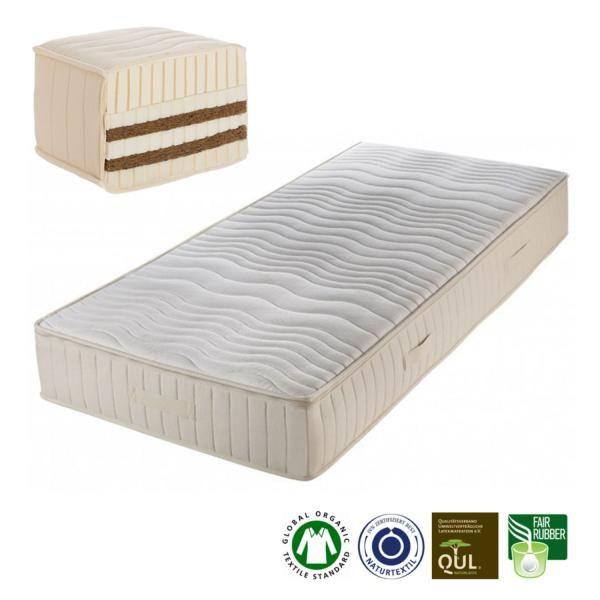 Mannares un colchón de látex natural y fibra de cocode 23 cm de grosorfabricado artesanalmente porProlana.El núcleo está compuesto por dos láminas de látex natural de 3 cm cada una, dos láminas de fibra de coco de 2,5 cm...