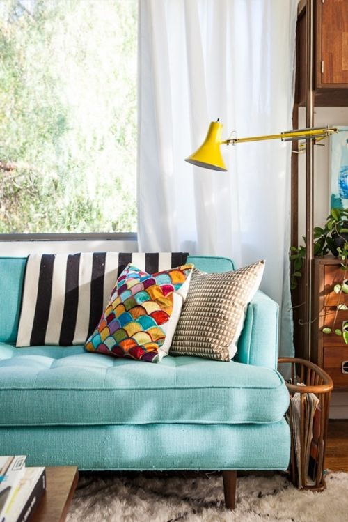 mint couch, striped pillows, color combinations, ideas