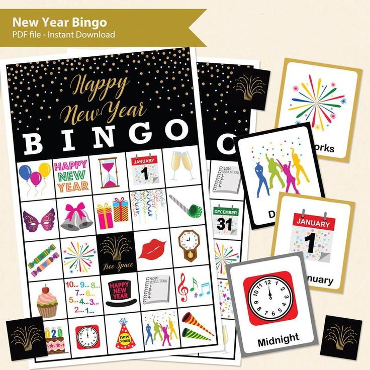 Instant print and play fun New Year Bingo game printable