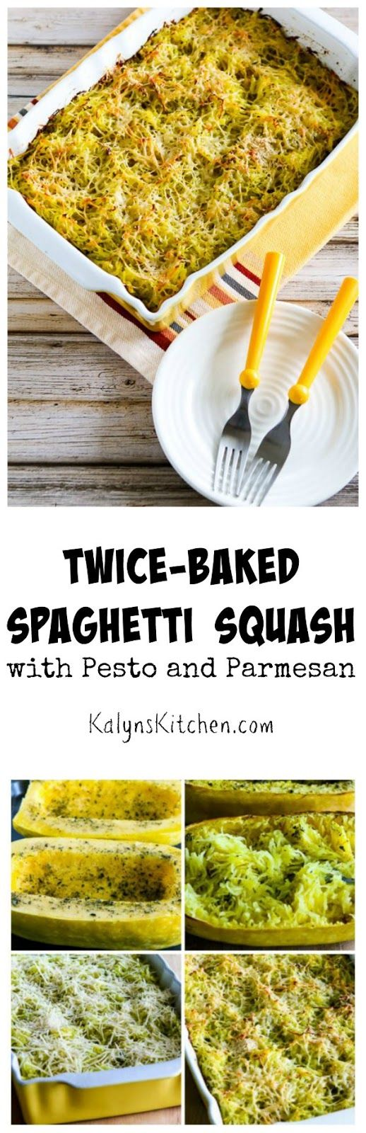 Twice-Baked Spaghetti Squash with Pesto and Parmesan is a perfect side dish for fall or winter.  (Low-Carb, Gluten-Free) [found on KalynsKitchen.com]