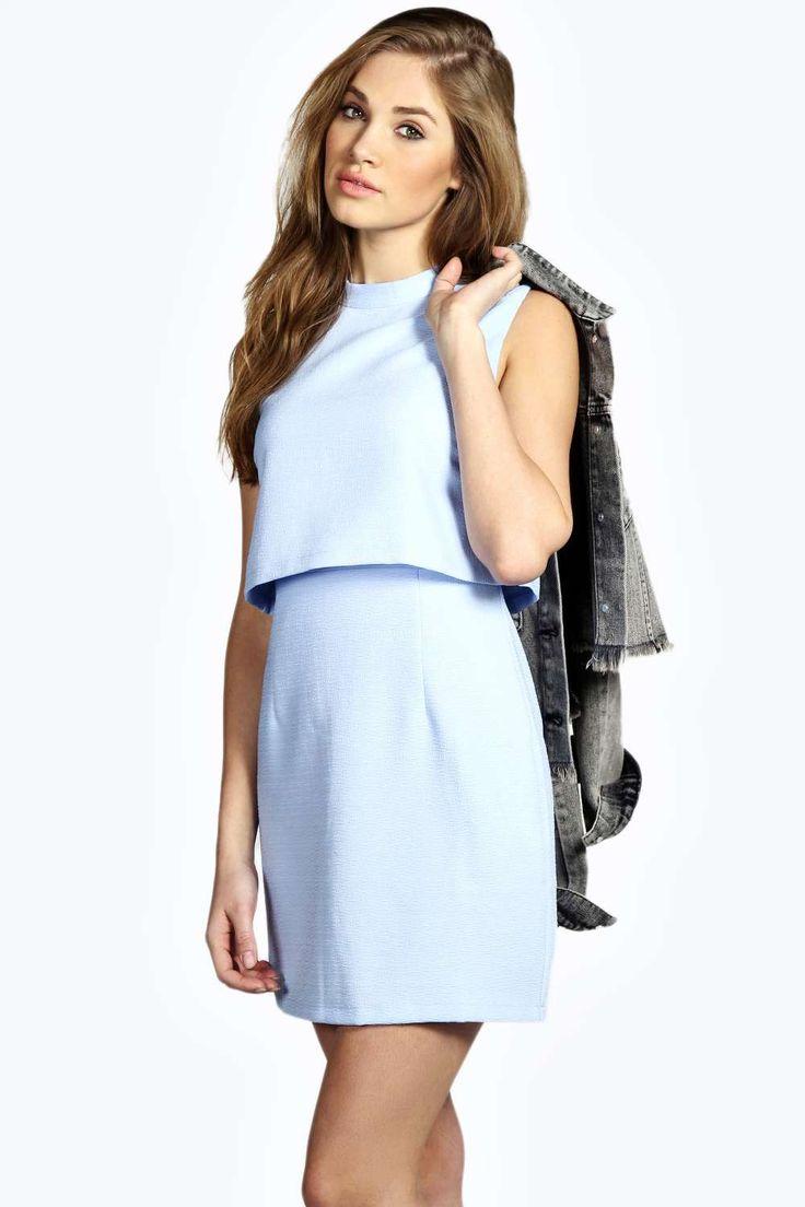 Erin Woven High Neck Double Layer Dress alternative image