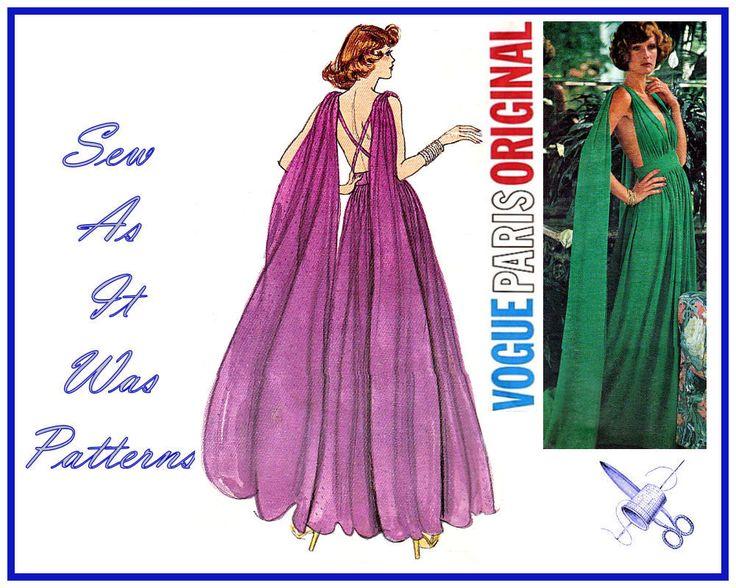 1970s FF Uncut Vogue Paris Original 1135 Emanuel Ungaro Evening Gown Dress Grecian Open Back Drape Vintage Sewing Pattern Size 14 Bust 36 from SewAsItWasPatterns on Etsy Studio