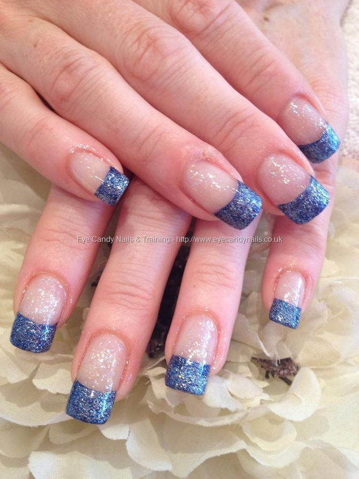 Blue glitter tips polish nail art