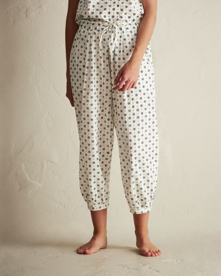 DAISY CHAIN PJ TROUSER | Crisp, lightweight, hand block printed cotton. Harem-style. Drawstring waist, elasticated at back. Elasticated ankle cuffs. Pockets.