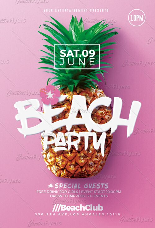 beach party flyer psd templates creativeflyers グラフィック
