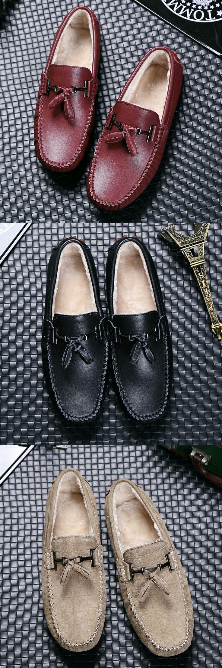 >> Comprar aqui << Prelesty Marca Vintage Retro Caballero Hombres de Cuero Casual Zapatos de Conducción Mocasines Mocasines de Borla Con Piel Caliente Del Ocio de Invierno