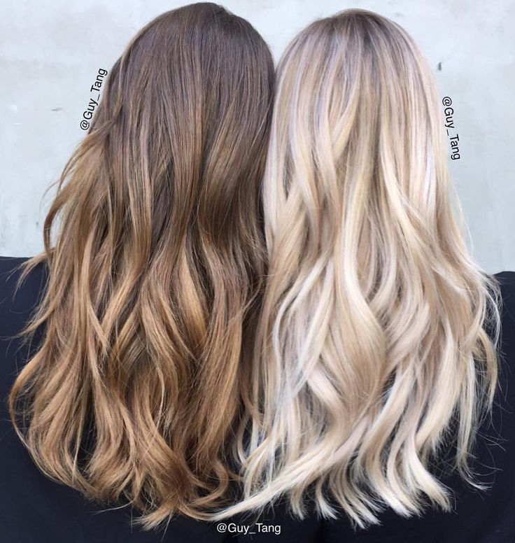 """Guy Tang on Instagram: """"Blonde or brunette? Both looks were achieved using Guy Tang+@pravana pure light balayage Lightener with HIGH activator 45 mins to process both in open air on brunette and blonde was incubated in cling film, to achieve the brunette tone lift to a level 8 and use natural chromasilk express tone for 5mins damp hair and blonde can be achieve using Pearl and clear for 5mins. #pravanabalayage"""""""