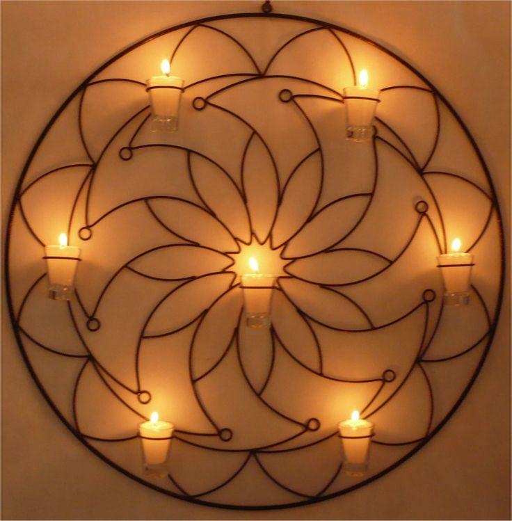 mandala 12 pontas flor decoração parede porta vela