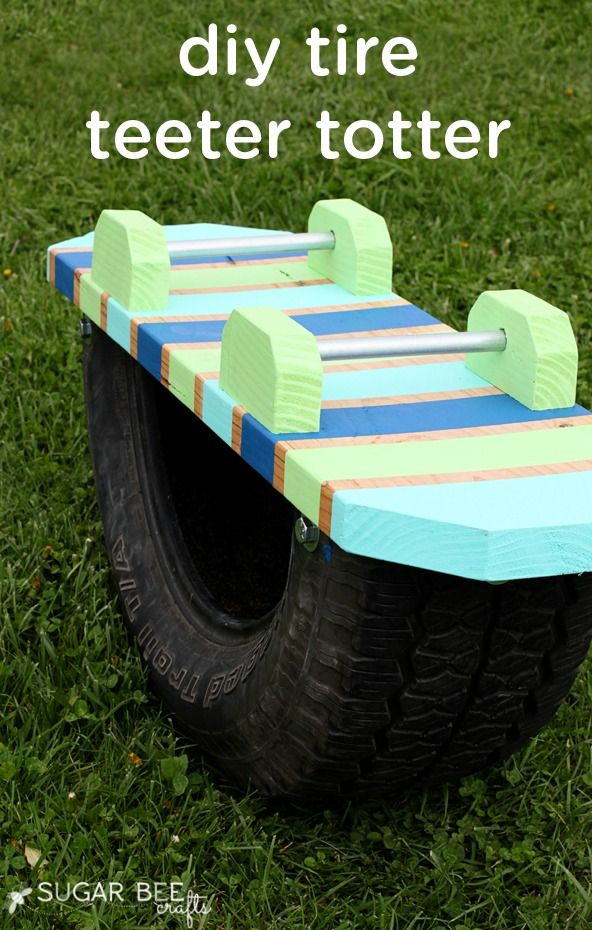 Get the whole family together to create this DIY kid-friendly tire teeter totter—it could make a wonderful outdoor, playtime activity for your  toddlers to enjoy this summer!